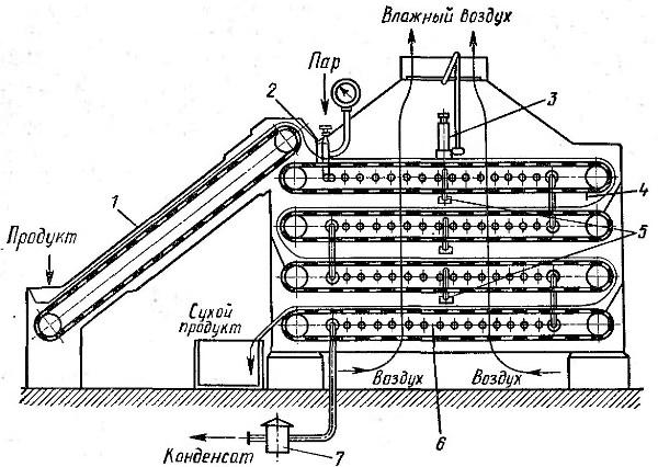 Рис. 1. Схема ленточной сушилки: 1 - питающий транспортер; 2 - шибер для разравнивания продукта; 3 - психрометр; 4...